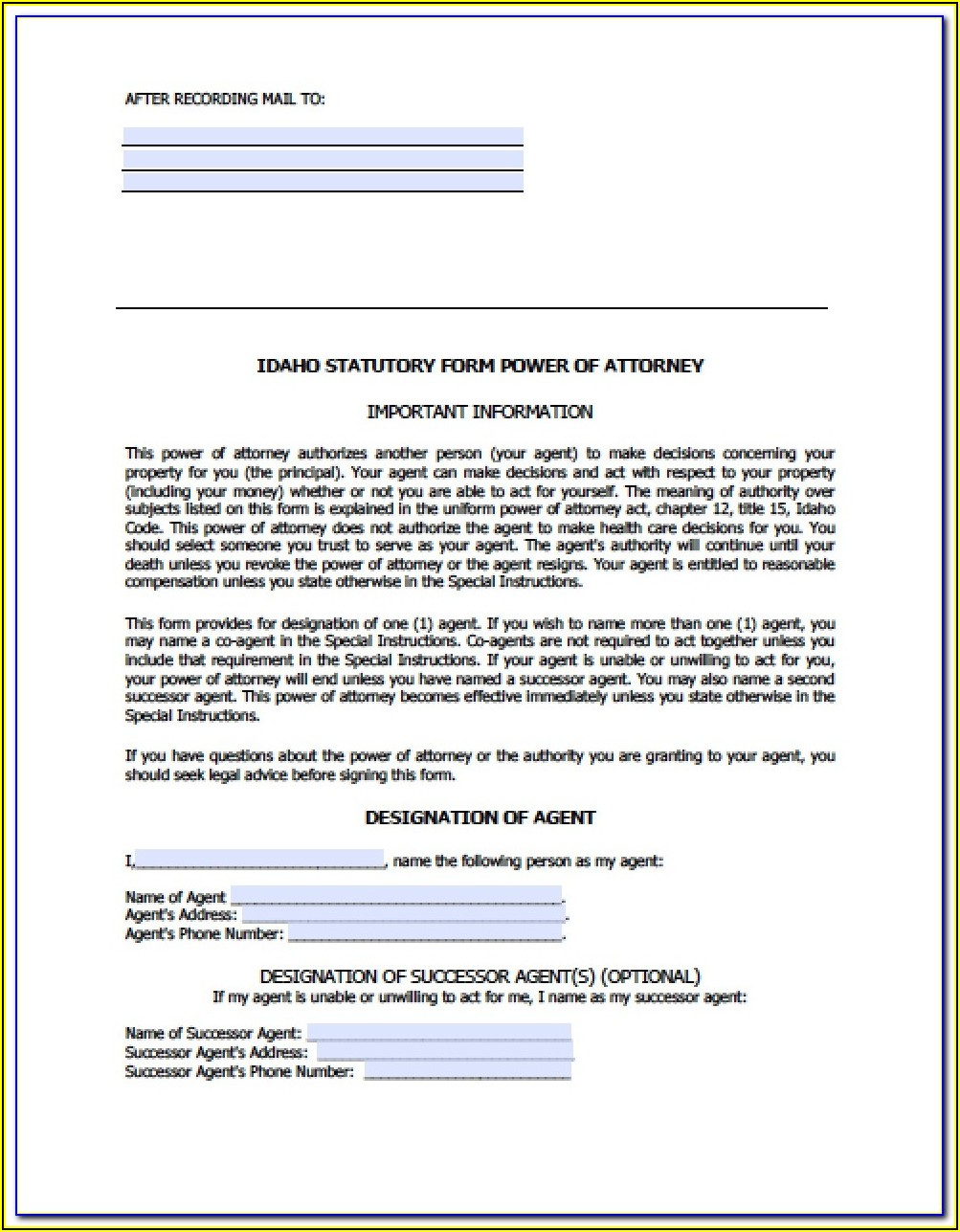 Idaho Statutory Form Of General Power Of Attorney