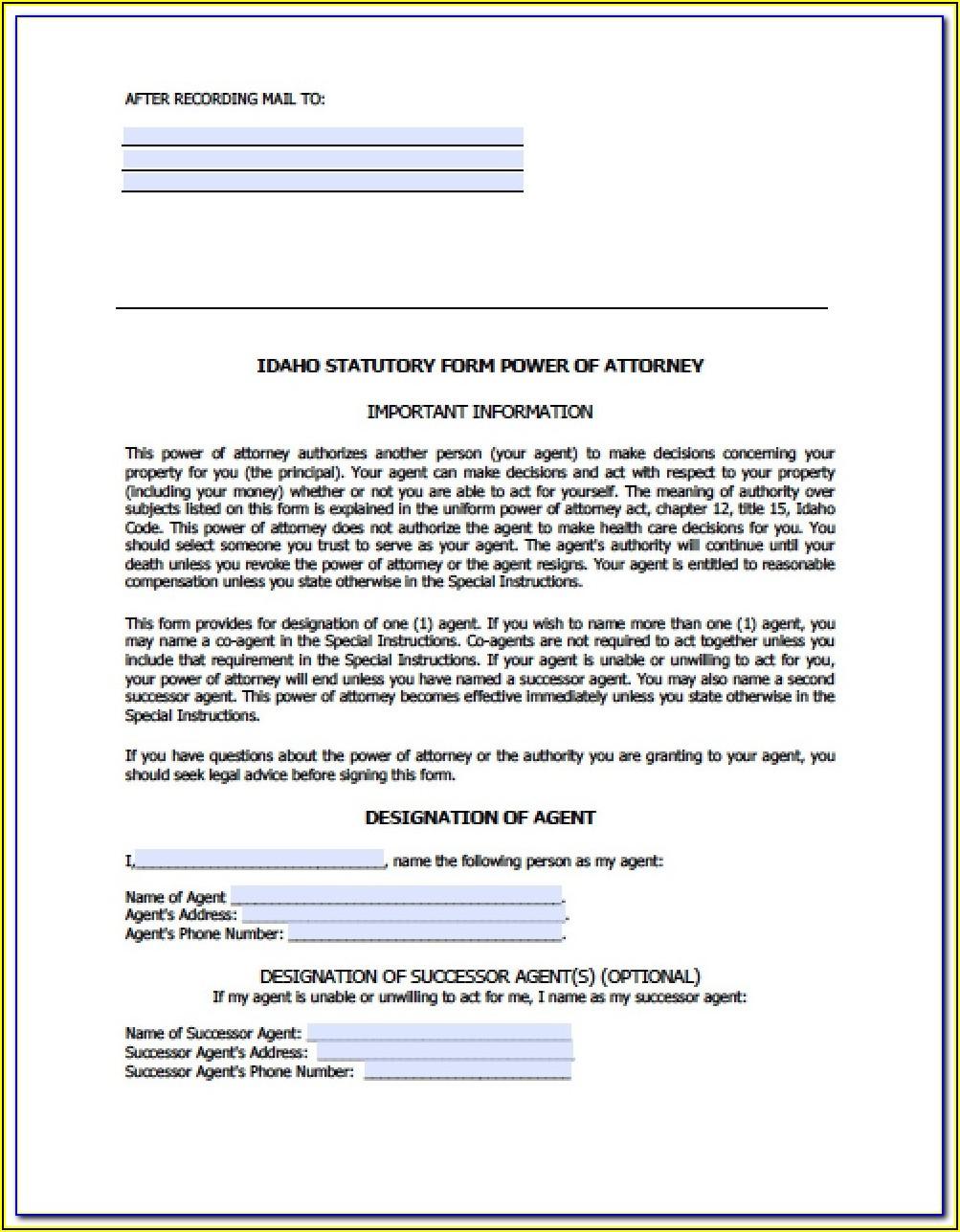 Idaho Statutory Form Of General Power Of Attorney