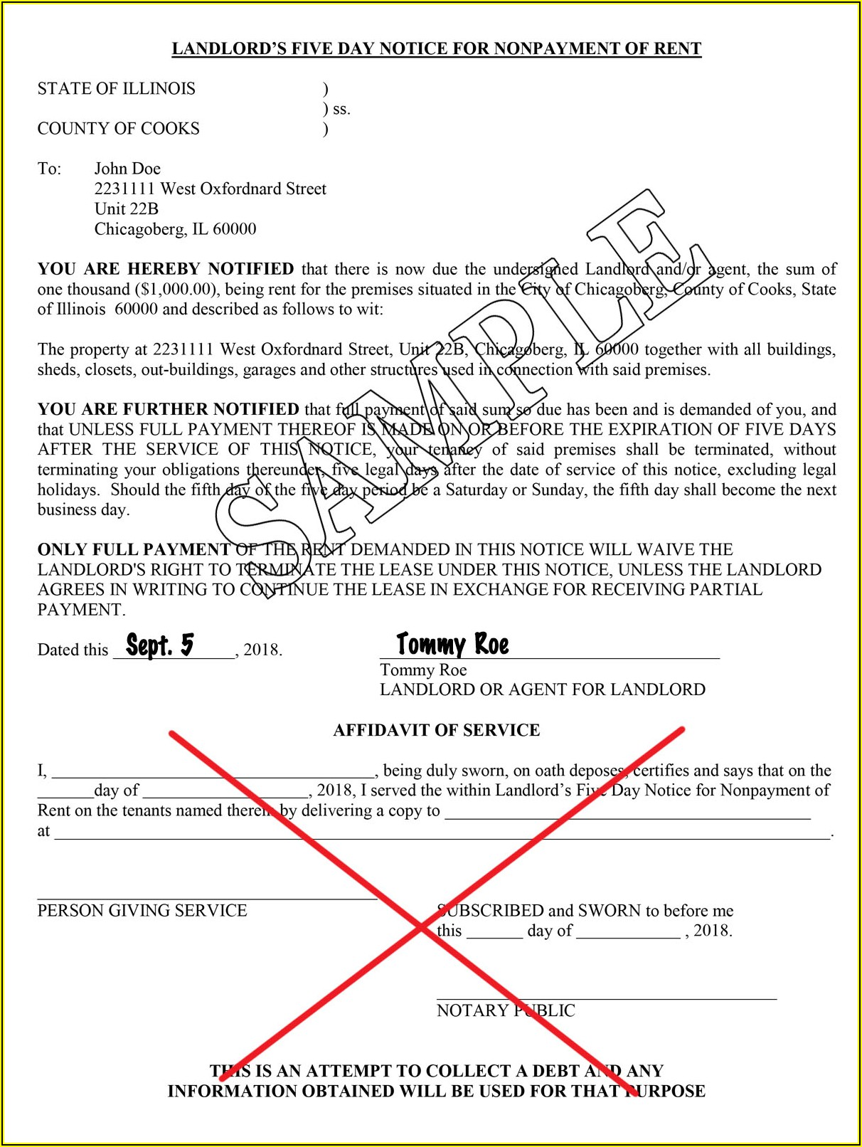 Illinois Landlord Eviction Notice Form