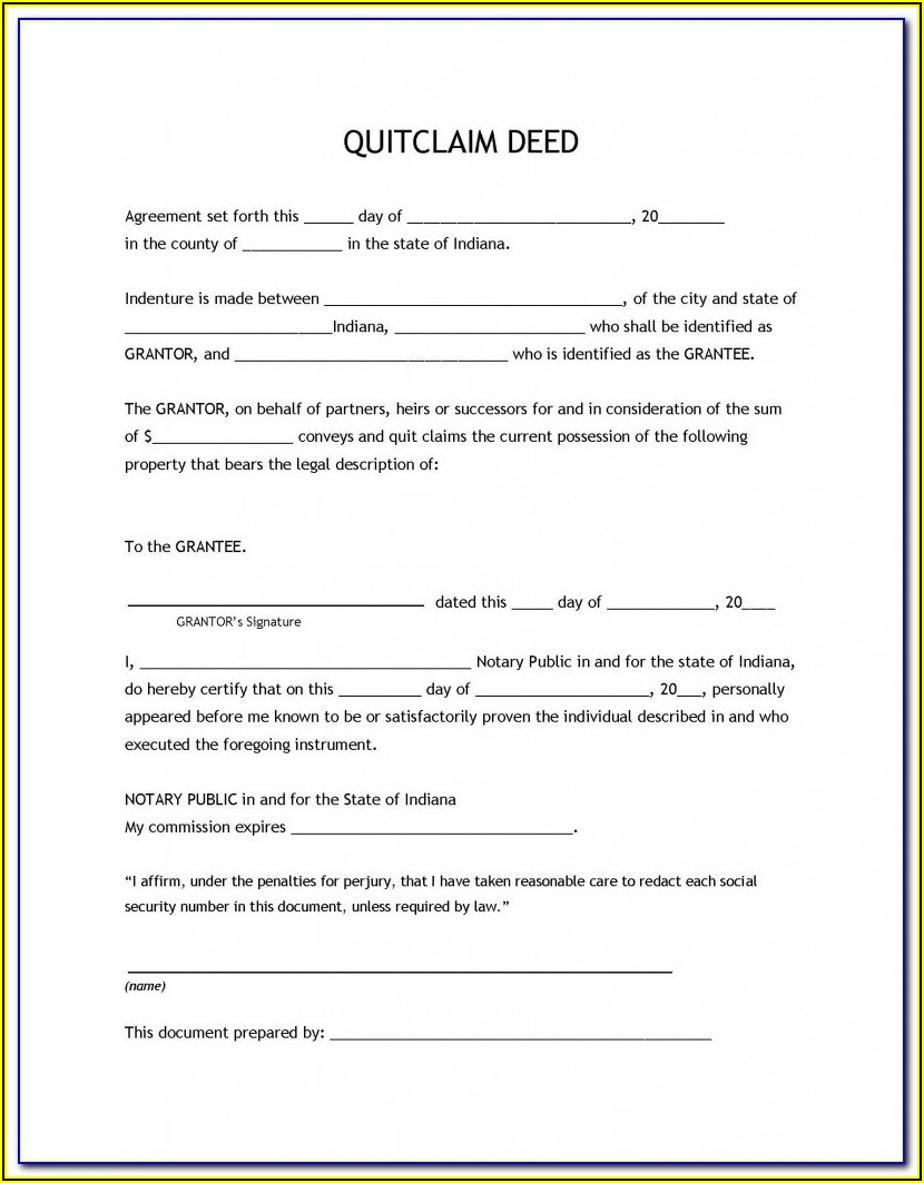 Indiana Notary Certificate Form