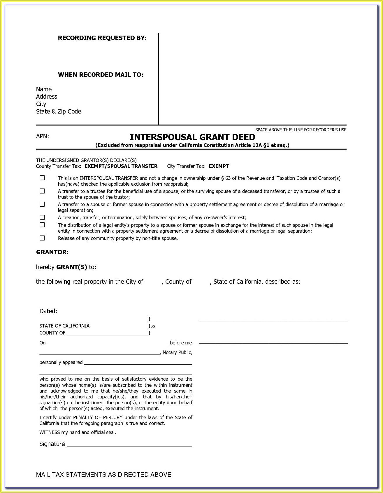 Interspousal Deed Transfer California Form