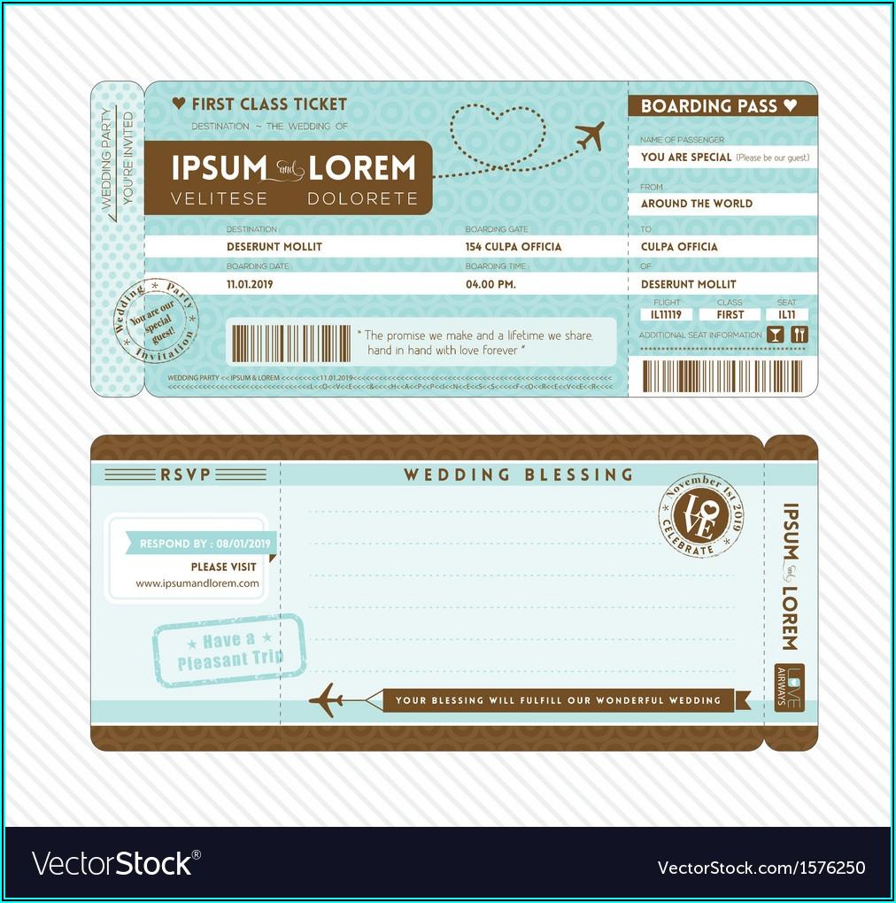 Invitation Airplane Ticket Template