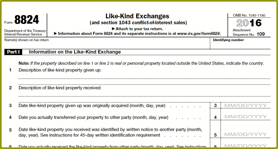 Irs 1031 Exchange Form Instructions