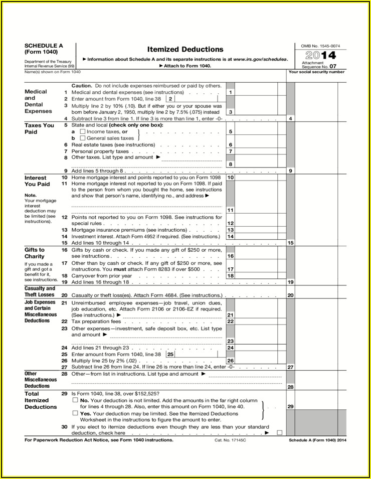 Irs 1040 Form 2014 Schedule A