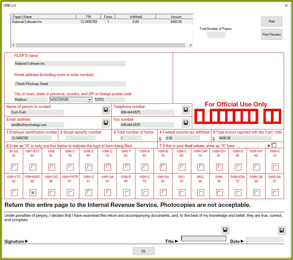 Irs 1096 And 1099 Forms
