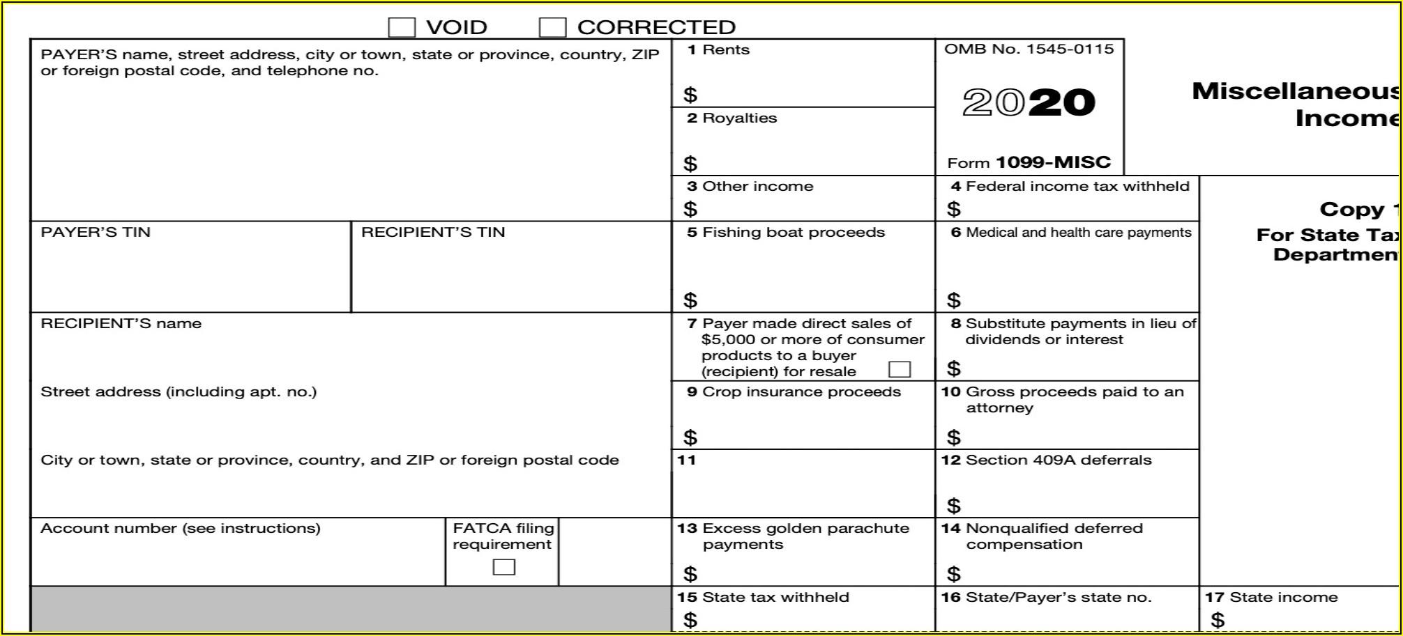 Irs 1099 Form Printable 2020