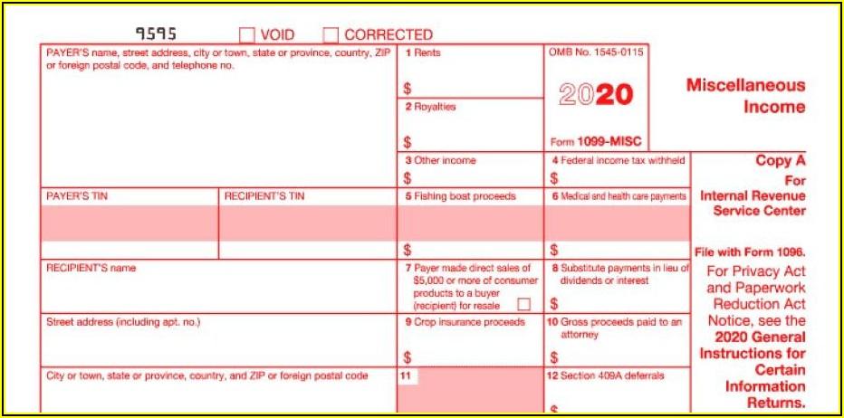 Irs 1099 Form Printable