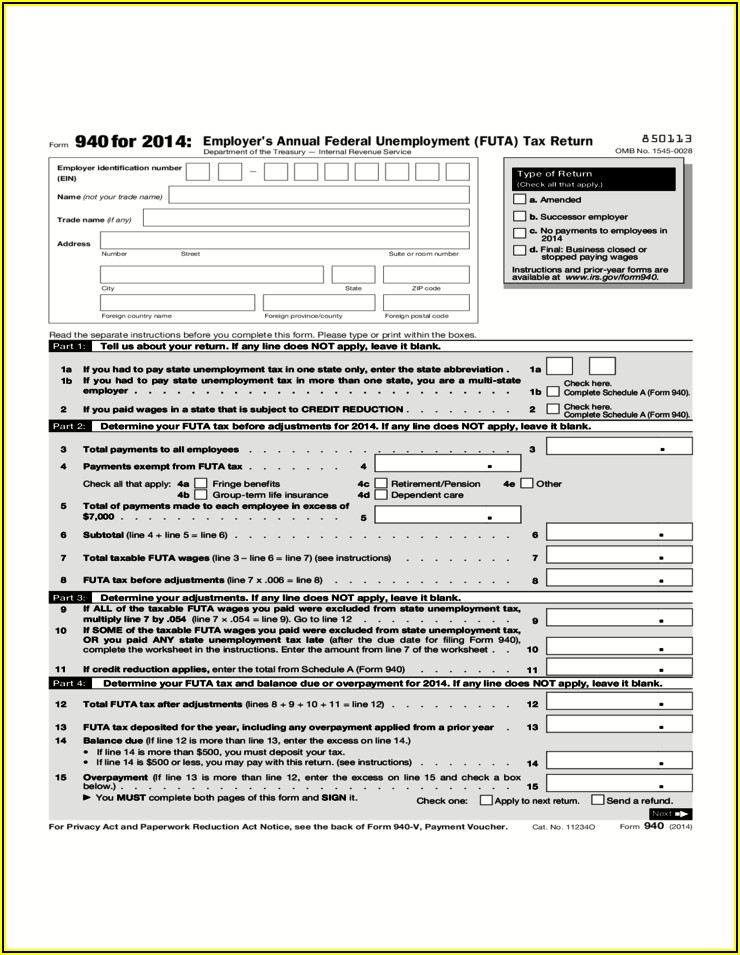 Irs 2014 Tax Form 940