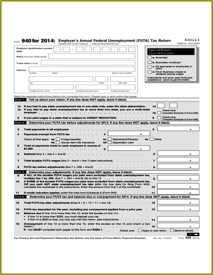 Irs 2014 Tax Form 940