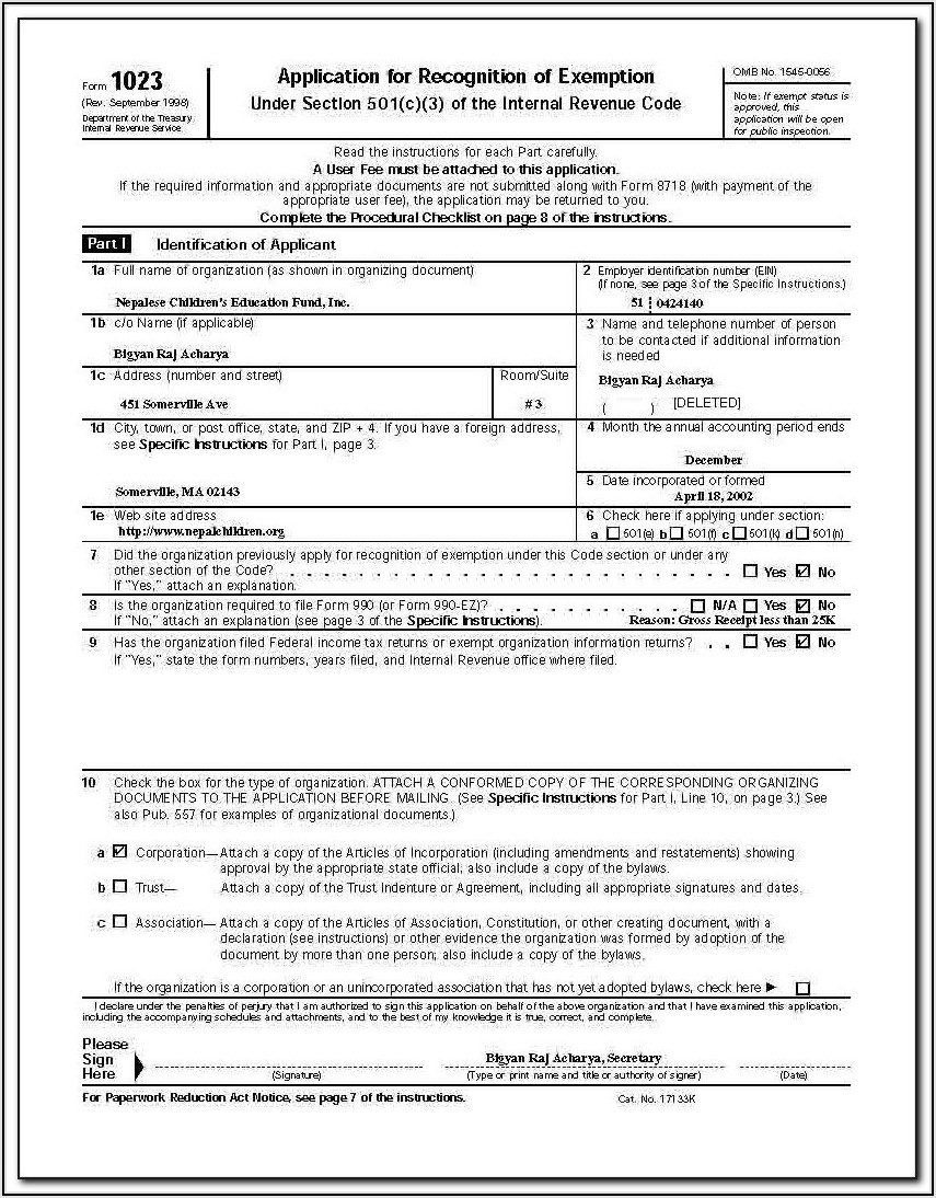 Irs 501 C 3 Donation Form