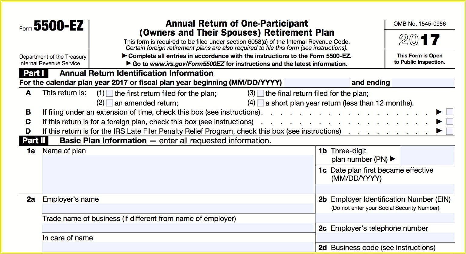 Irs 5500 Ez Forms