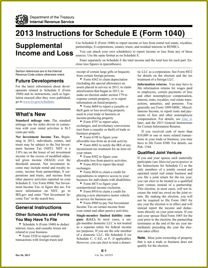 Irs Form 1040 Schedule E 2014