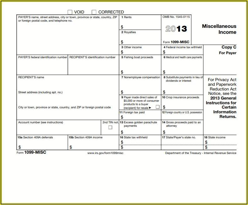 Irs Form 1099 Misc 2013
