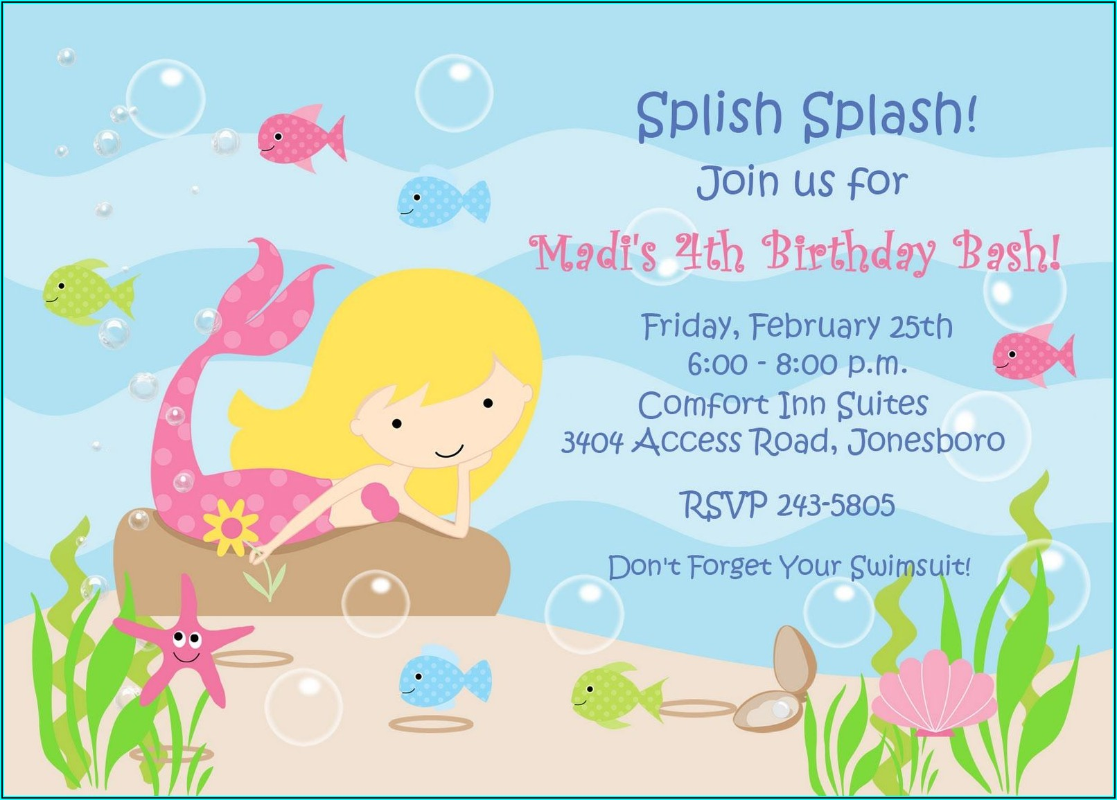 Little Mermaid Birthday Invitation Template Free
