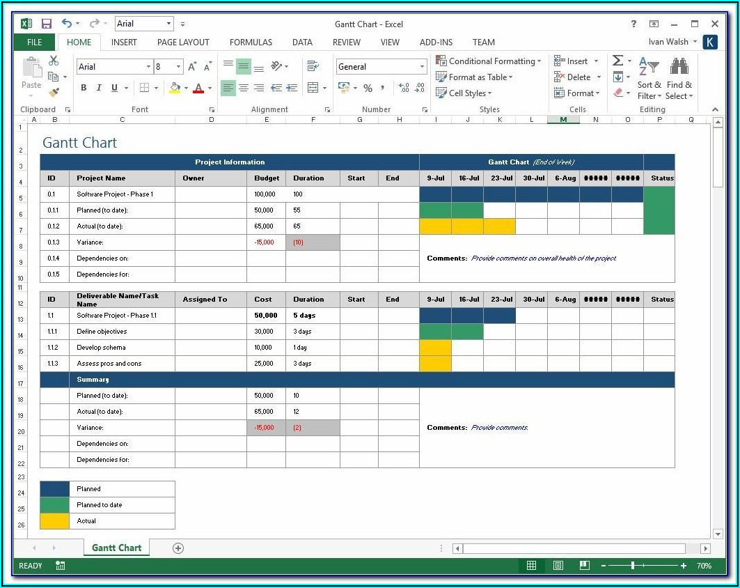 Microsoft Excel Project Plan Template Free