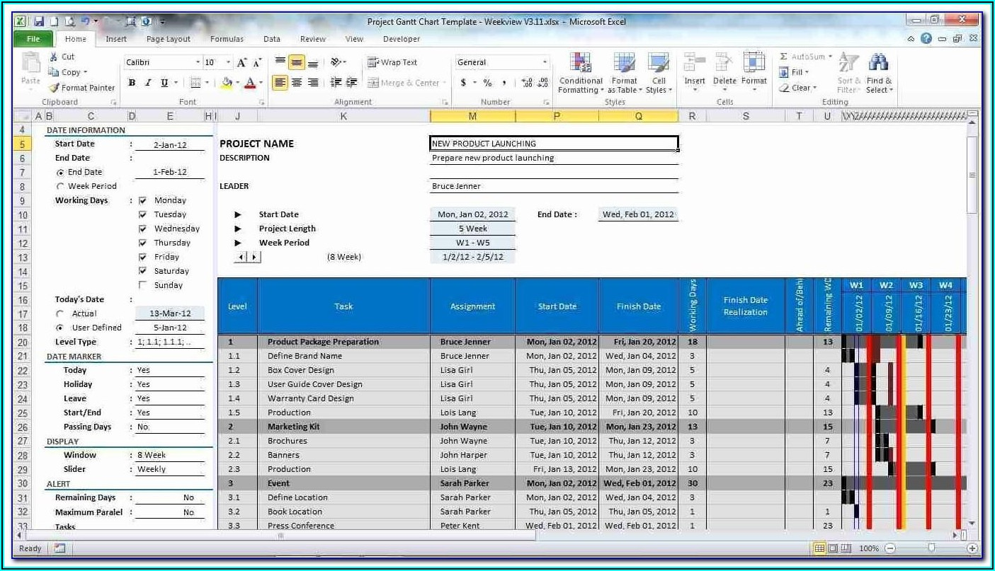 Microsoft Excel Project Planning Template