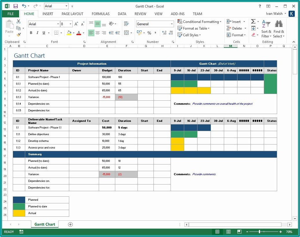 Ms Excel Project Plan Templates