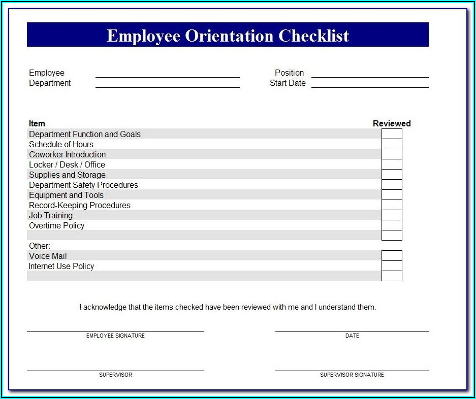 New Employee Onboarding Template Excel