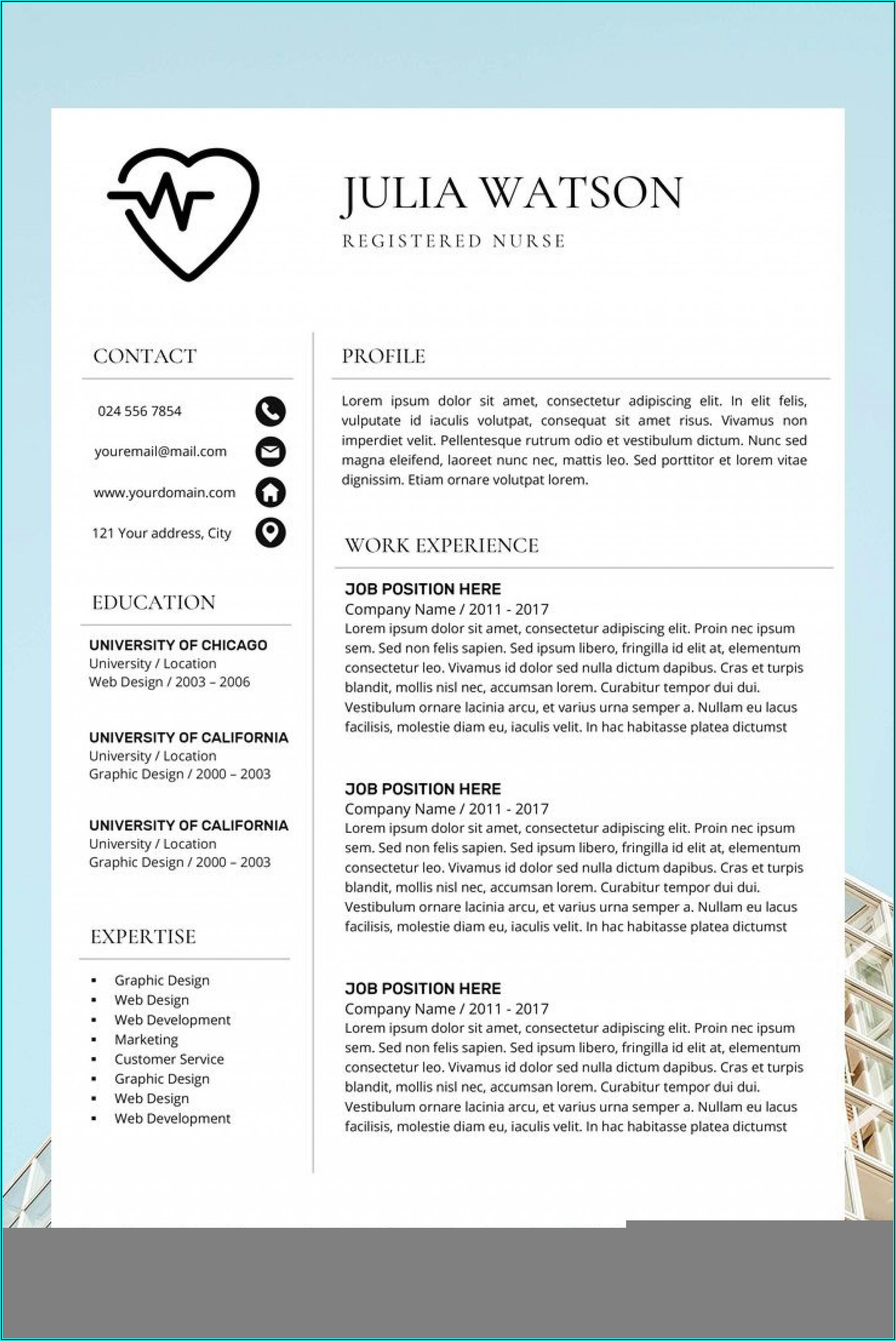 Nursing Resume Template Word Free Download