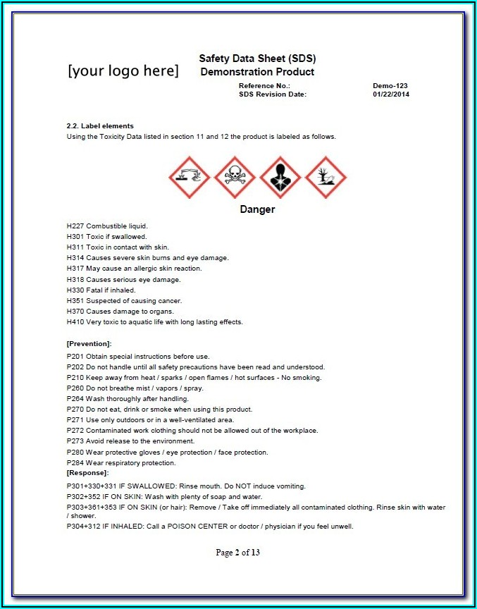 Osha Safety Data Sheet Example