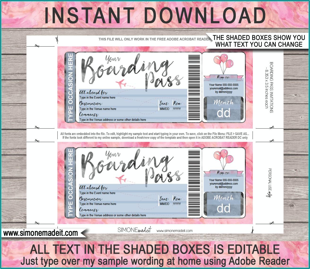 Plane Ticket Invitation Printable