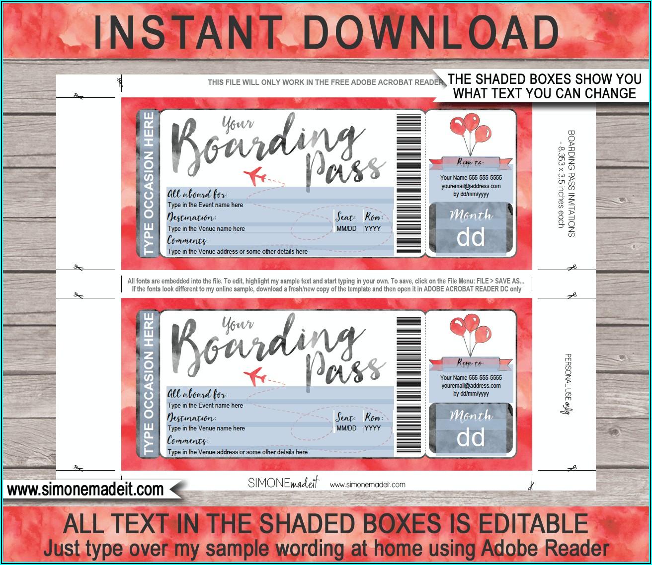 Printable Plane Ticket Invitation Template