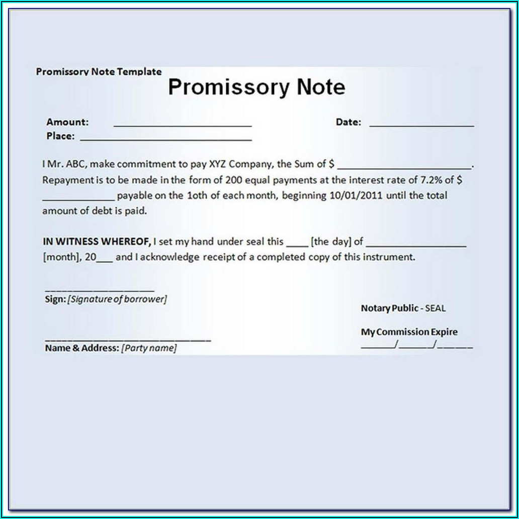 Promissory Note Family Loan Template