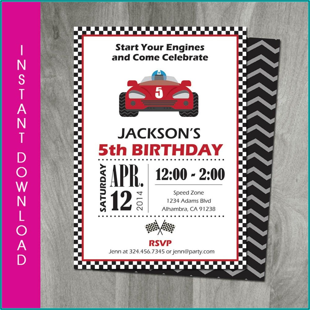 Race Car Birthday Invitation Template Free Download