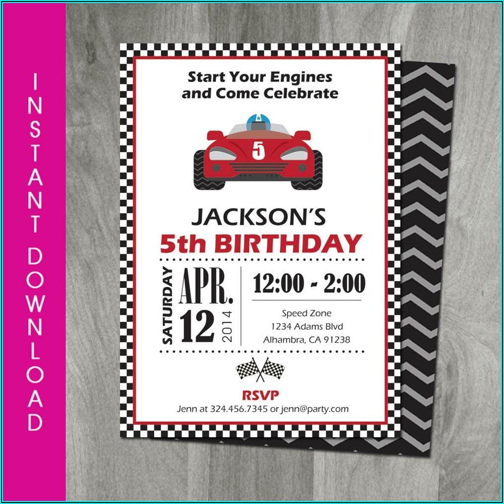 Race Car Birthday Invitation Template Free Download