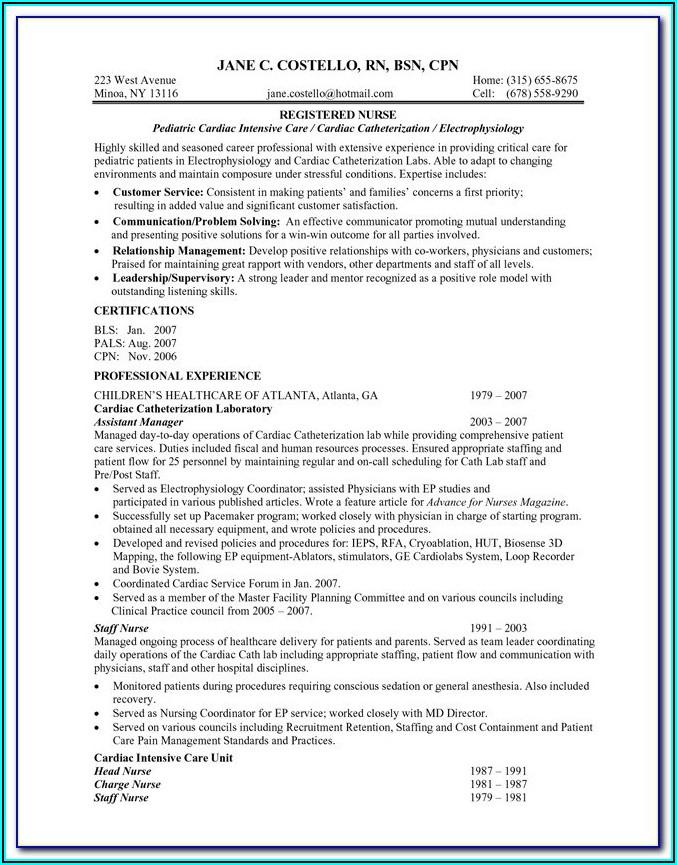 Registered Nurse Curriculum Vitae Template