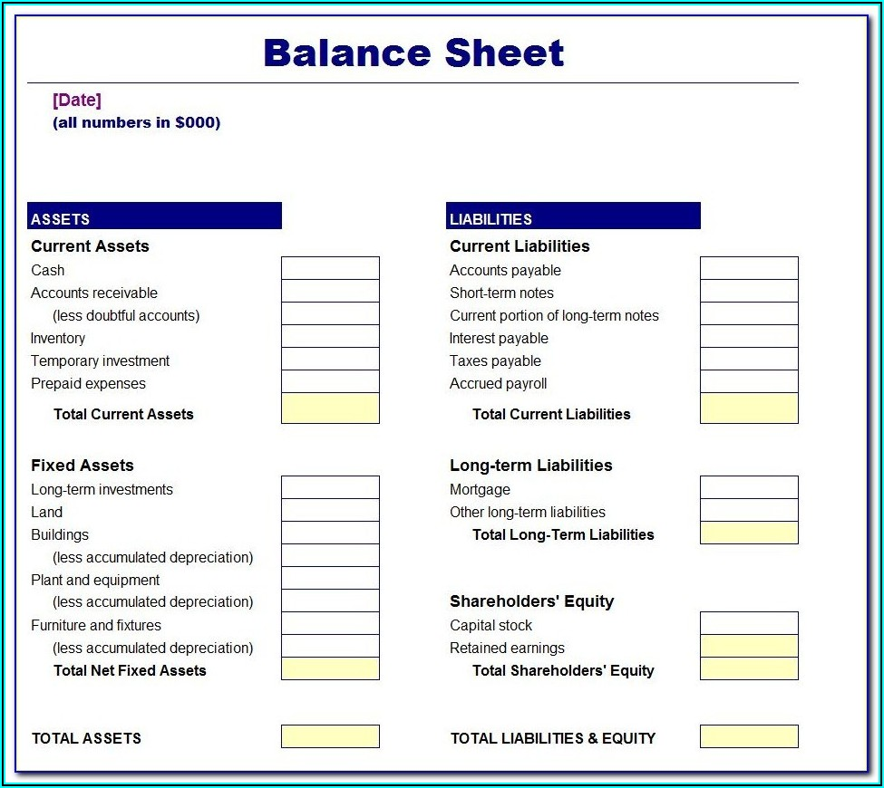 Simple Balance Sheet Example Excel