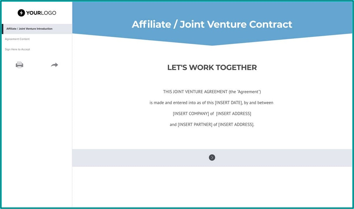 Template Joint Venture Agreement
