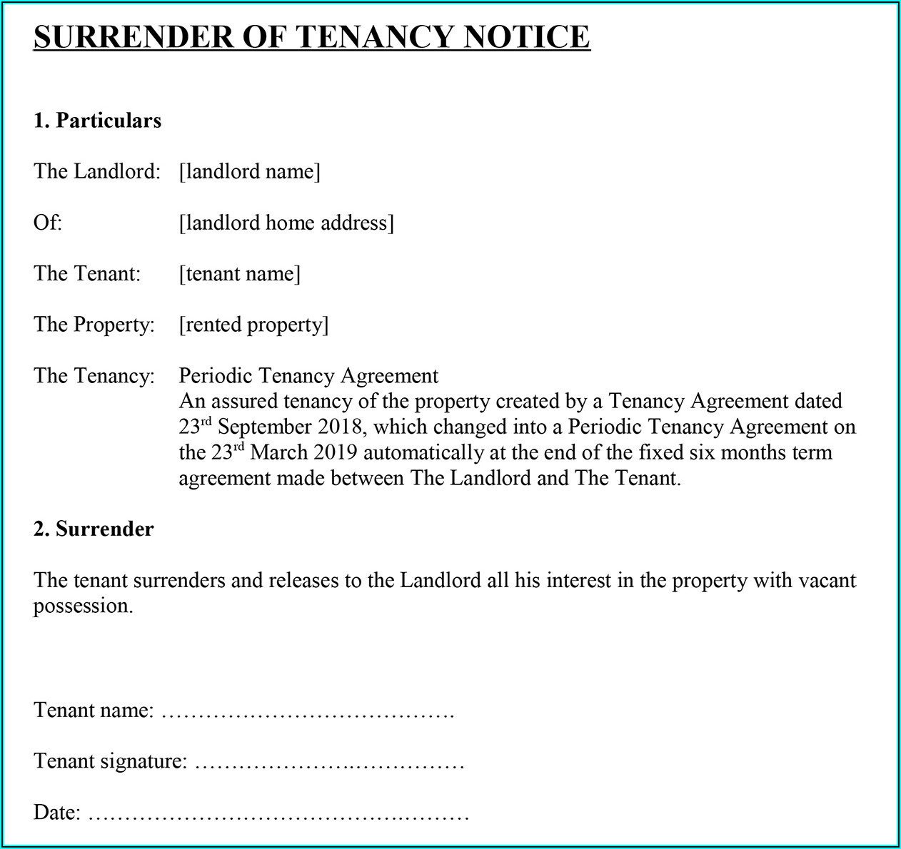 Tenant Eviction Letter Template Uk