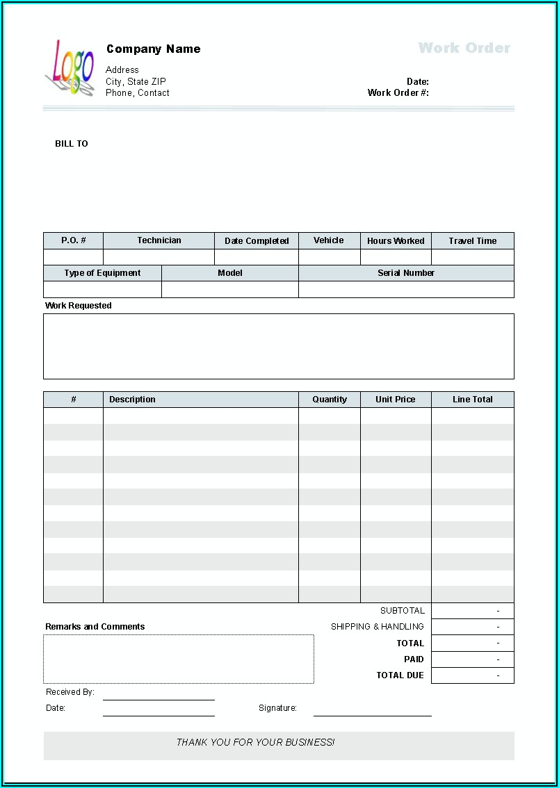 Work Order Invoice Template Excel