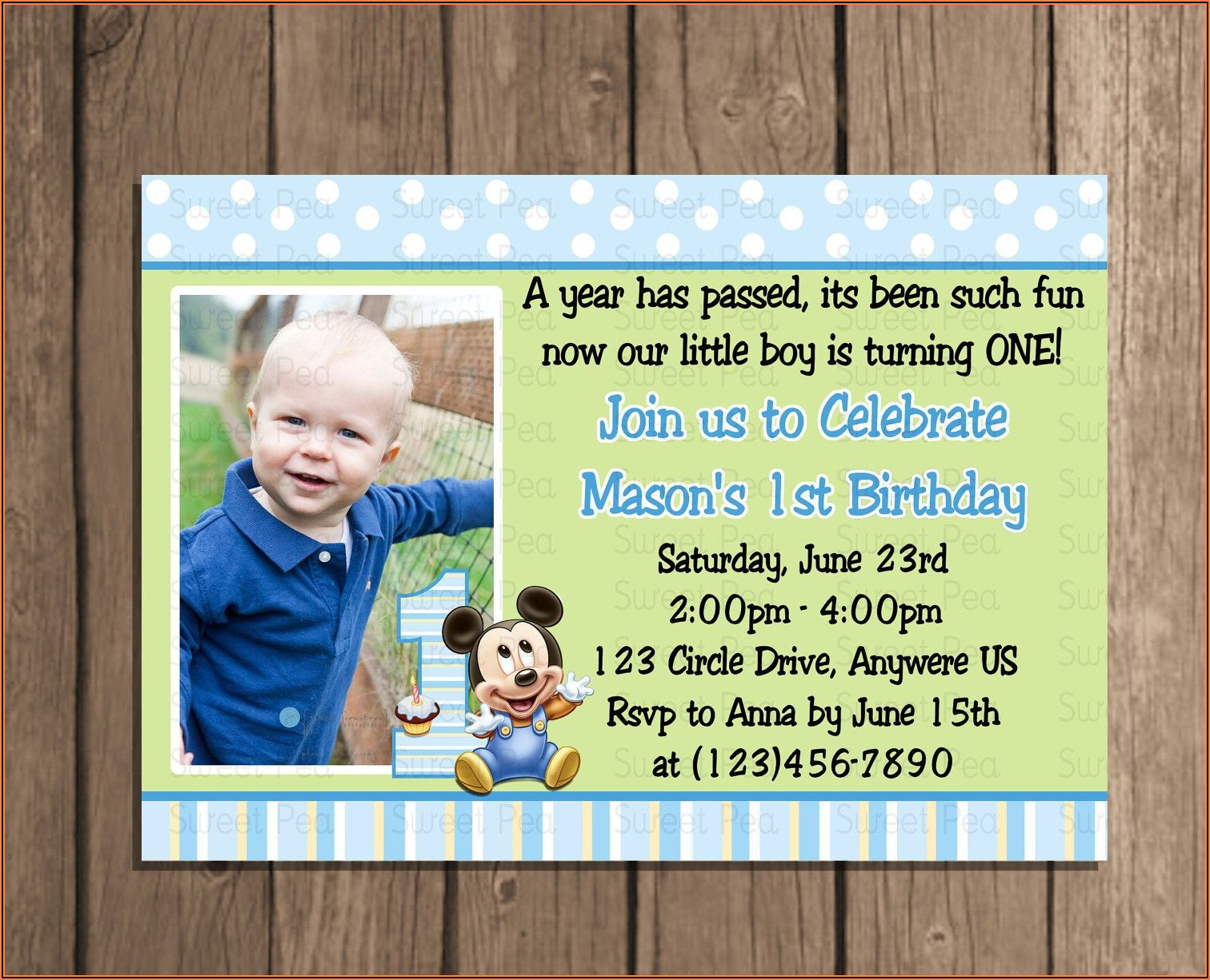 1st Birthday Invitation Card Baby Boy
