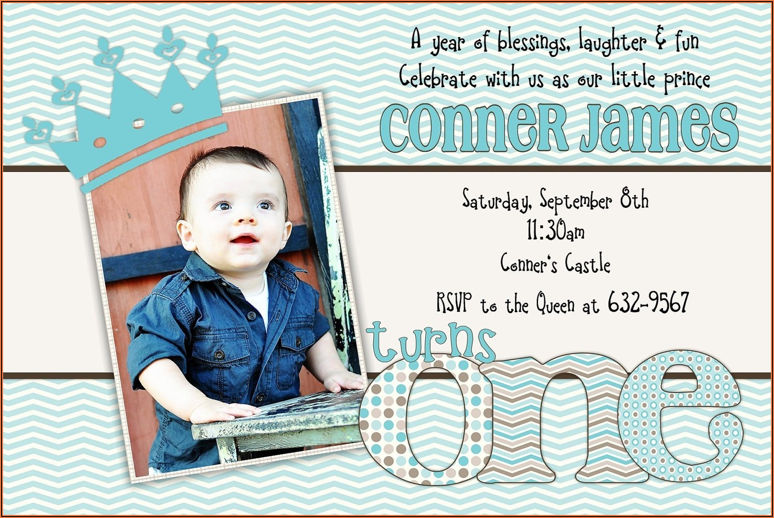 1st Birthday Invitation Card For Baby Boy