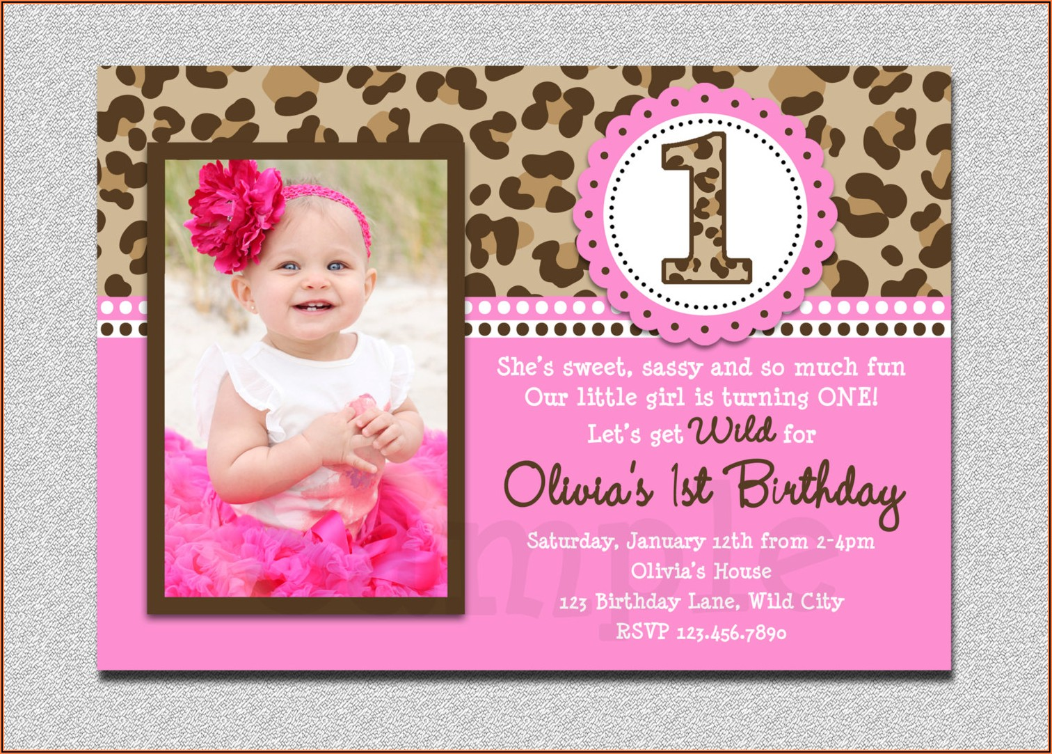 1st Birthday Invitation Card For Baby Girl