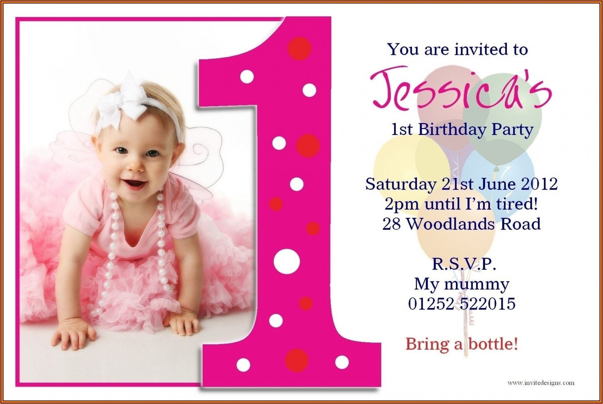 1st Birthday Invitation Template India