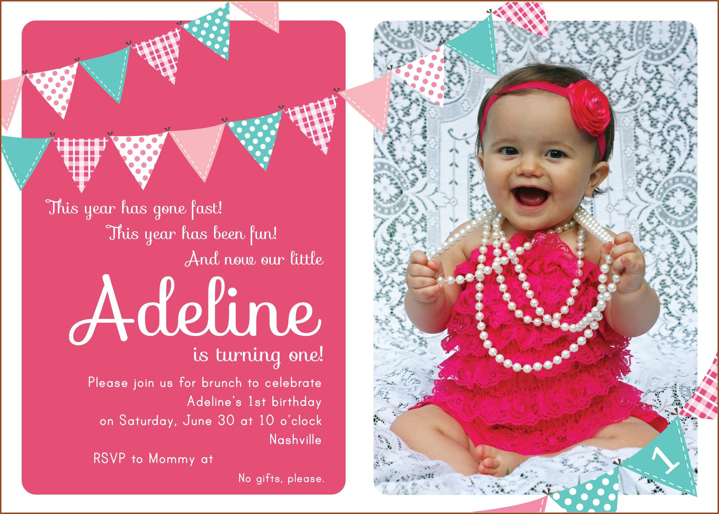 1st Birthday Invitation Templates With Photo