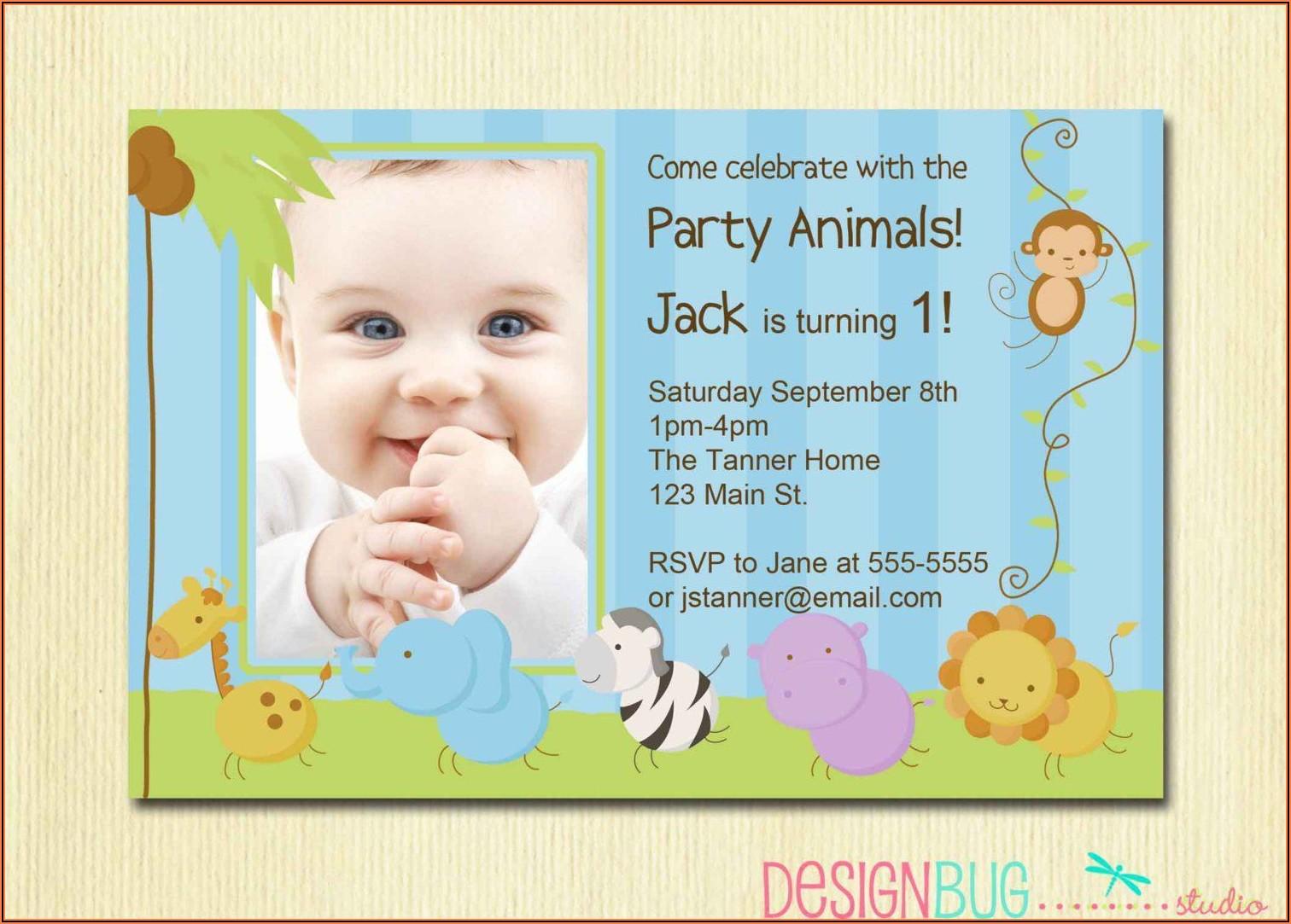1st Birthday Invitation Wording For Boy