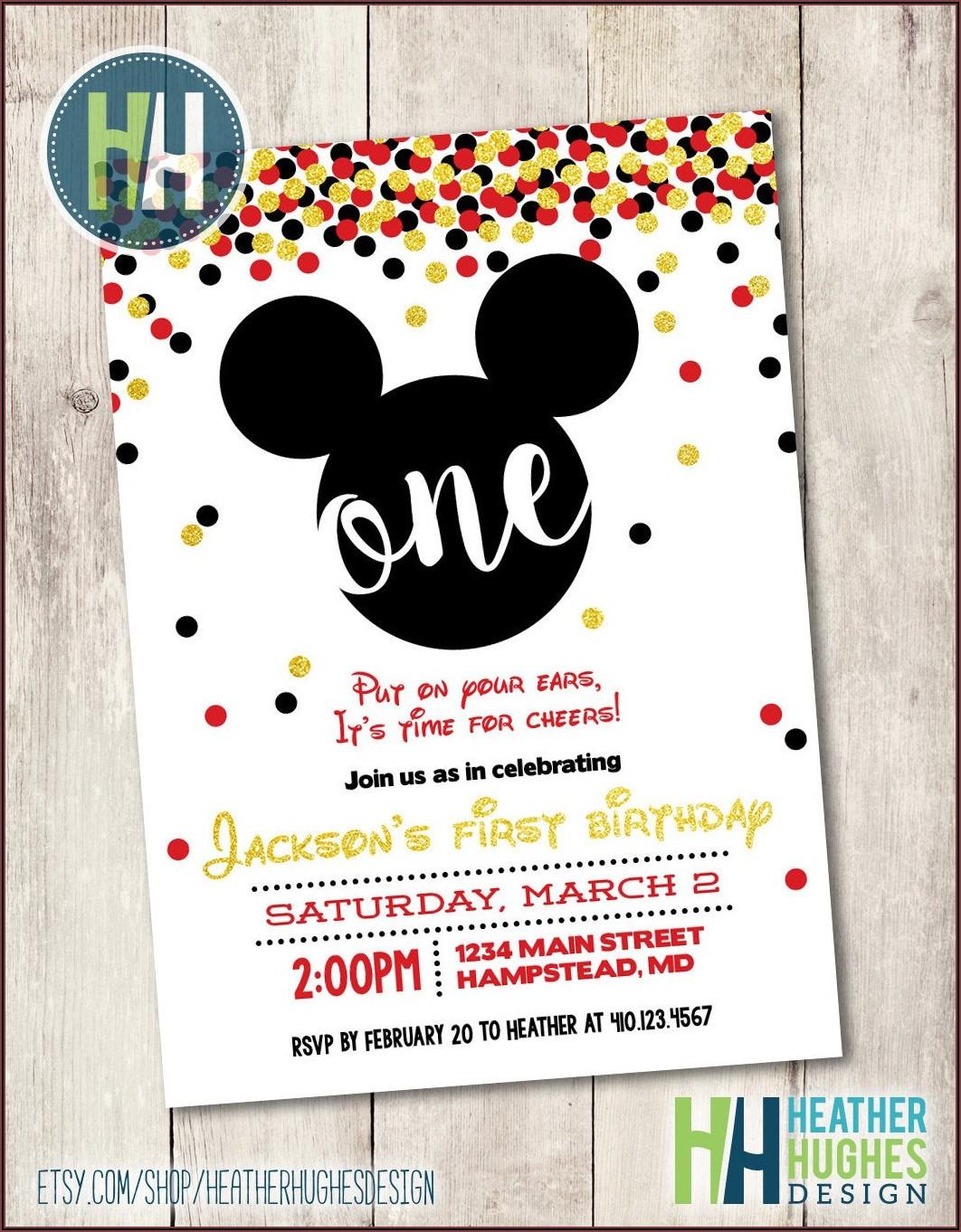1st Birthday Invitations Boy Mickey Mouse