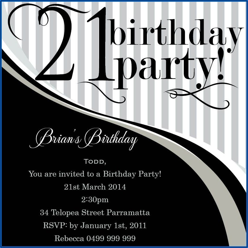 21st Birthday Invitations Boy Templates