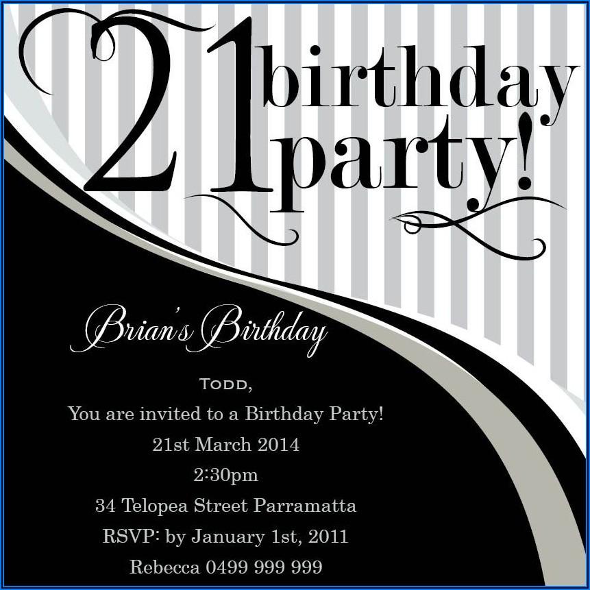 21st Birthday Invitations Boy Templates