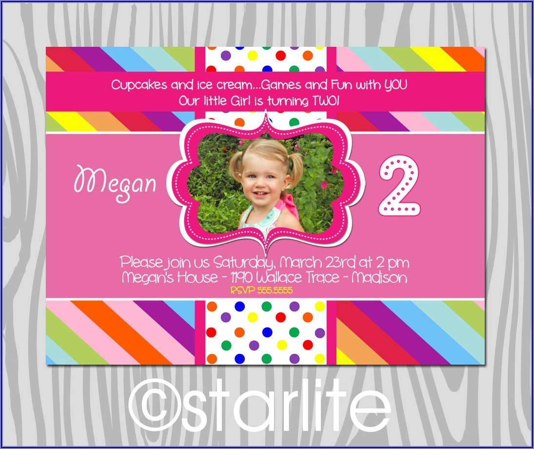 2nd Birthday Invitation Card For Baby Girl