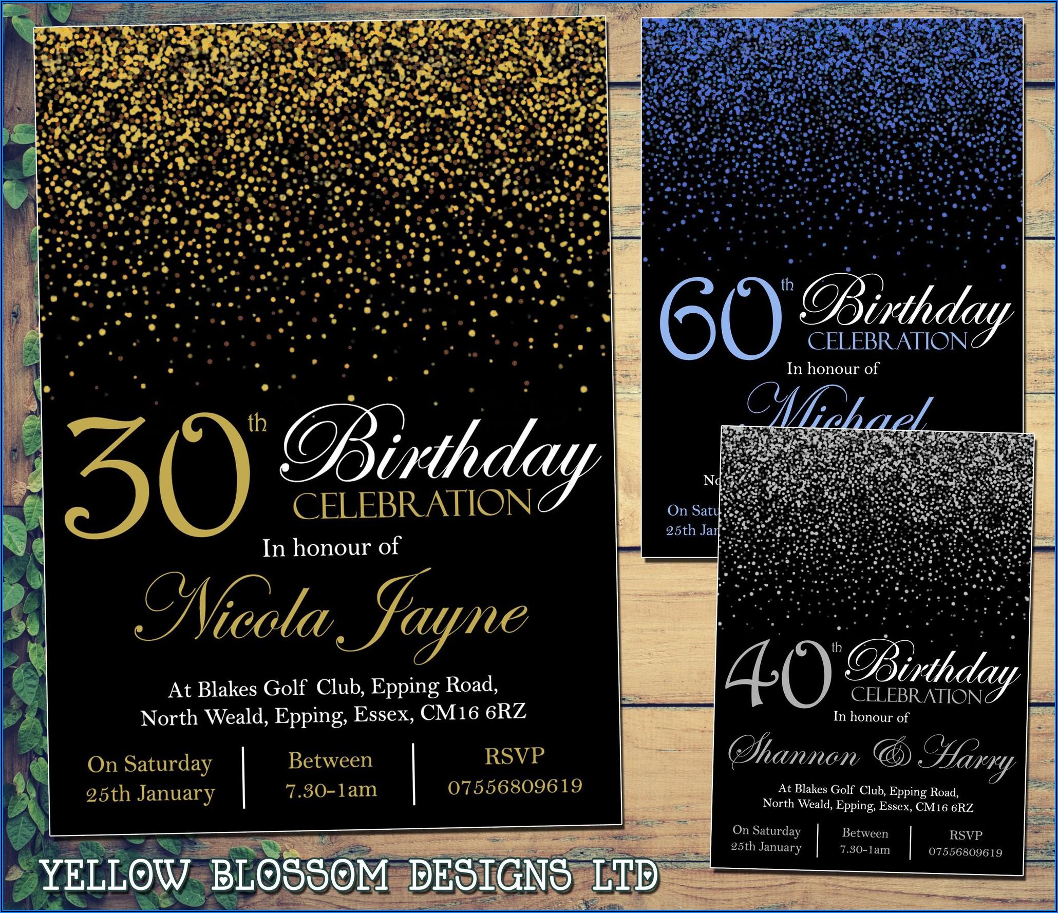 30th Birthday Invitations Male