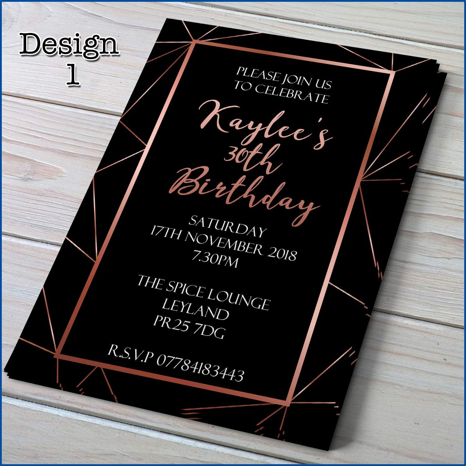 30th Birthday Invitations Rose Gold