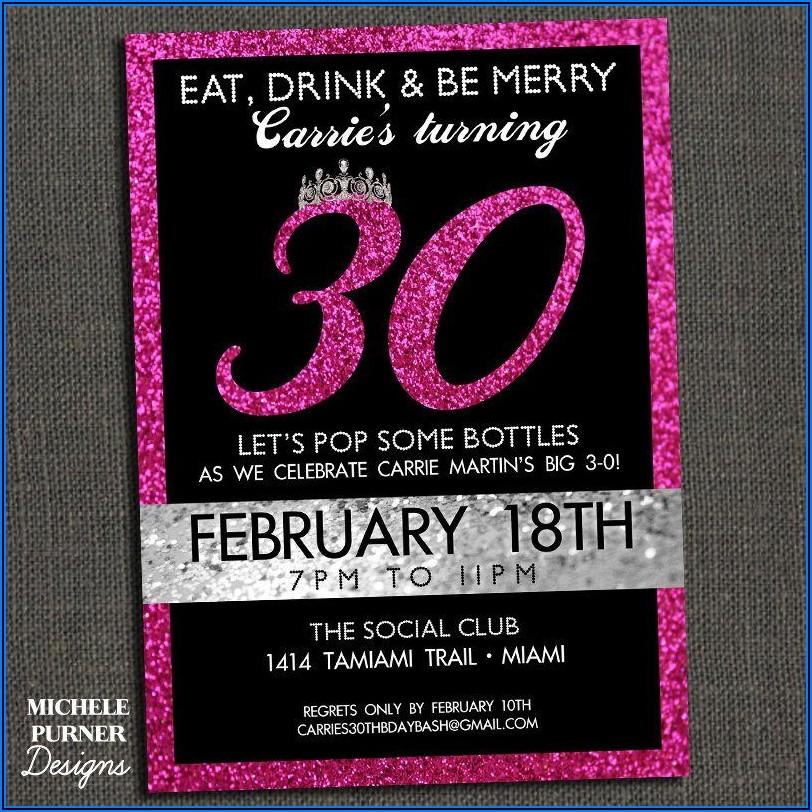 30th Birthday Invitations Templates Free