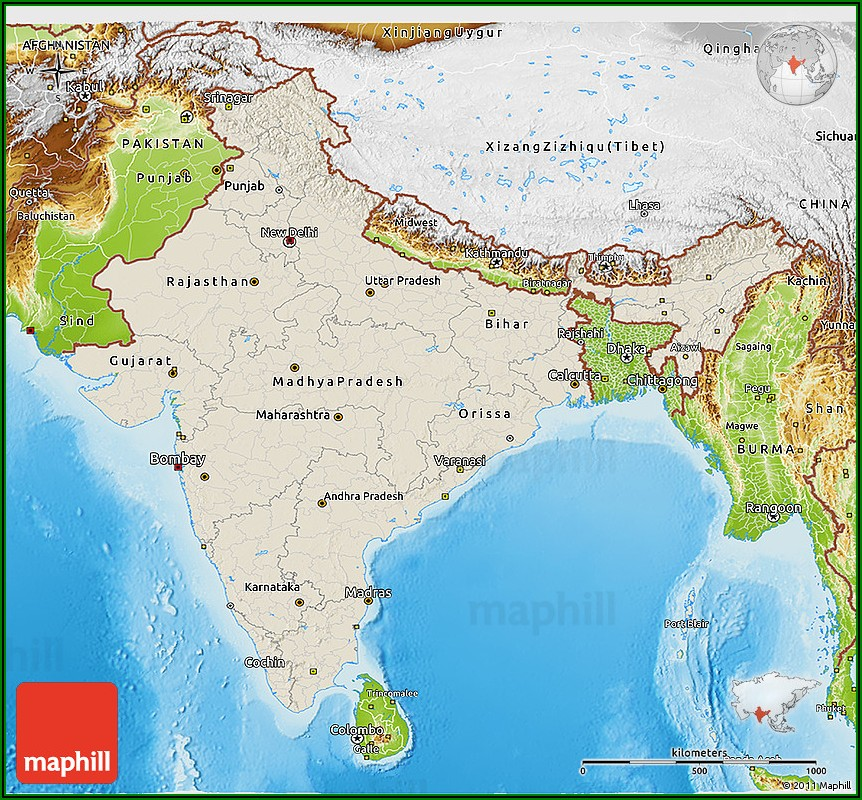 3d Relief Map Of India