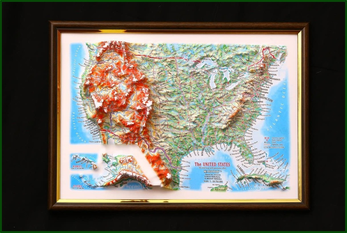 3d Relief Map Of Usa