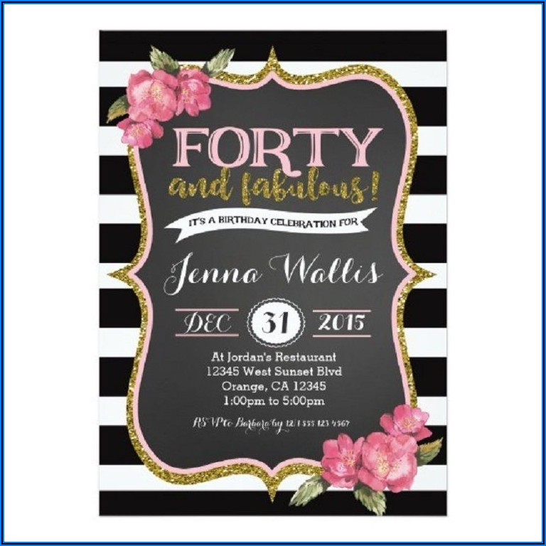 40th Surprise Birthday Invitations For Her
